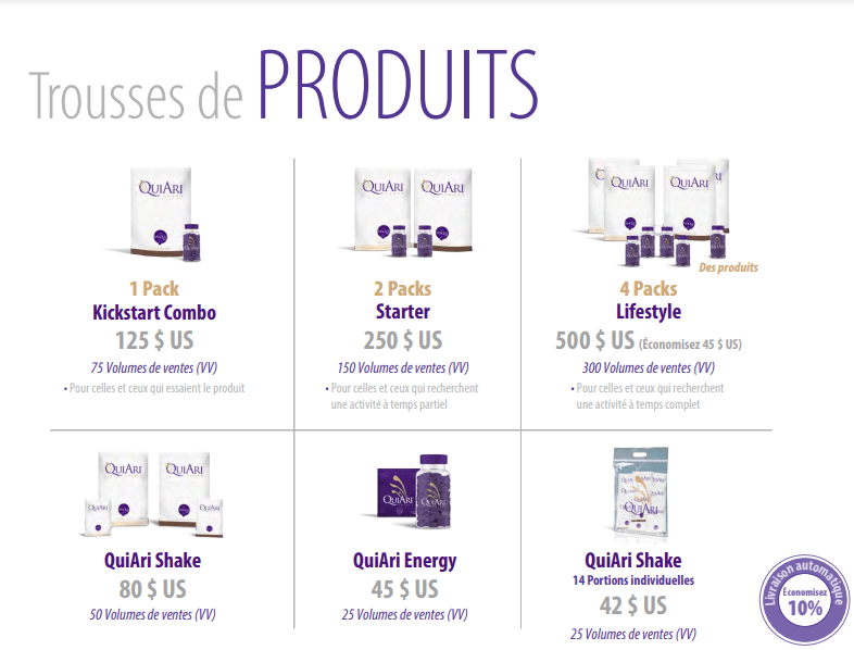 Corine Goldman Marketing de reseau QuiAri packs produits